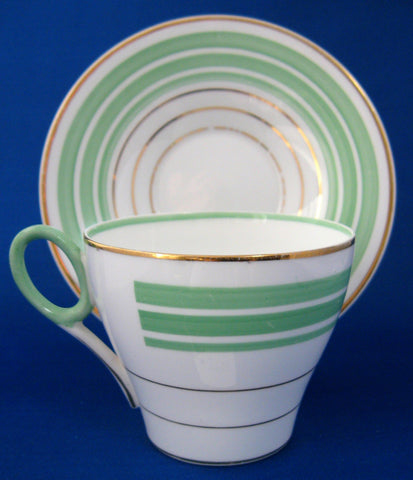 Shelley Cup and Saucer Oxford Shape Art Deco Green Gold Bands 1940s