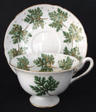 Shelley Gainsborough Cup And Saucer Green Leaves Gold Trim 1950s
