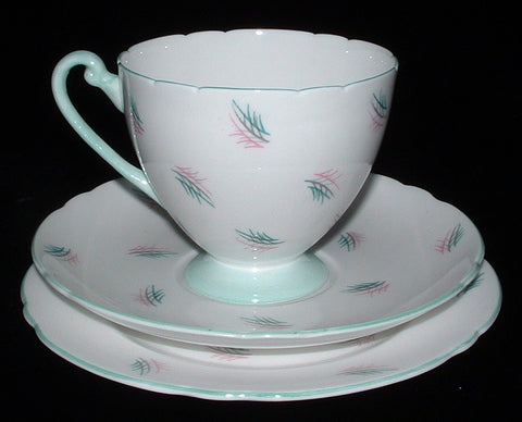 Shelley Cup Saucer Plate Ripon Harmony Green Pink England Teacup Trio