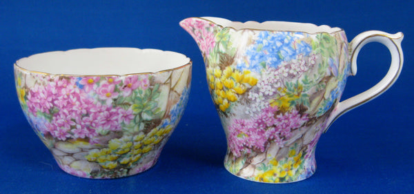 Shelley England Rock Garden Chintz Cream and Sugar Milk Small