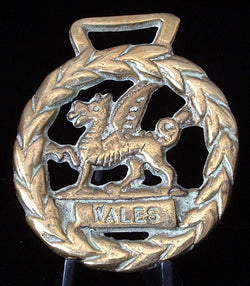 Edwardian Horse Brass England Dragon Wales Welsh Symbol 1900 Harness Ornament