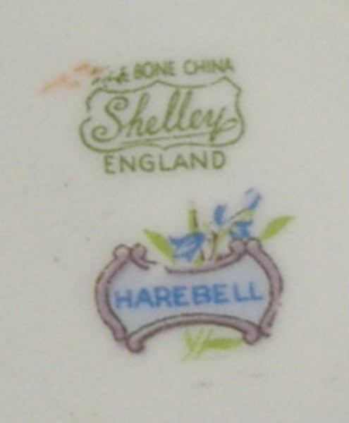 Shelley China Harebell Cup And Saucer Low Oleander Shape Blue And White