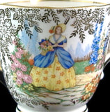 Crinoline Lady Cup And Saucer Gold Chintz Colclough 1940s