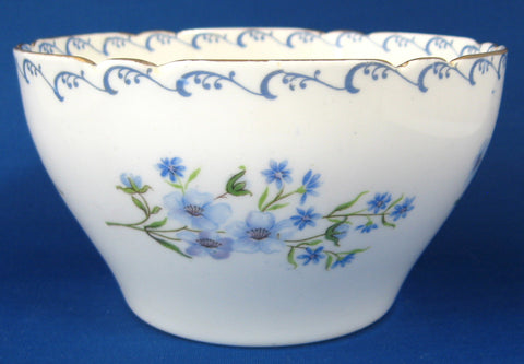 Shelley Blue Rock Waste Bowl Gainsborough Shape 1950s Bowl Gold Trim