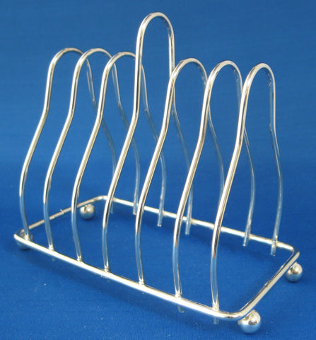 Vintage English Toast Rack Retro Silver Plated 6 Slice 1950s Napkins Letter Holder