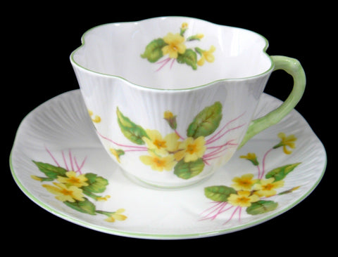 Shelley Cup and Saucer Primrose Dainty Shape Pale Green Trim