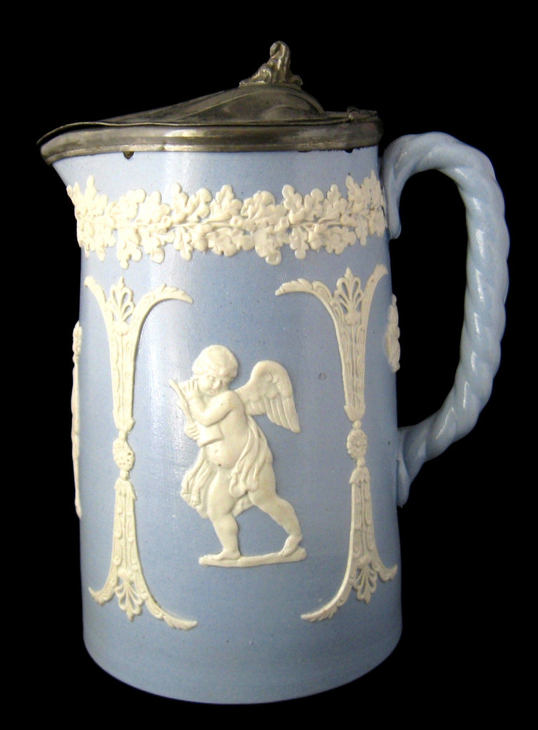 Dudson Sprigged Pitcher Pewter Lid Classical Jug 1890s Blue And White