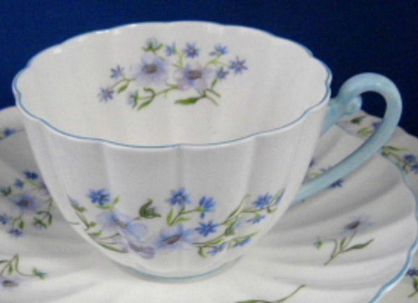 Shelley Cup And Saucer With Plate Blue Rock Ludlow Blue Trim Blue And White