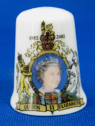 Queen Elizabeth II Golden Jubilee Thimble Bone China UK 2002 50 Year Coronation Jubilee