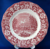 Palissy Pink Transferware Plate Thames River Eton College 1957-1965 10 Inches Red