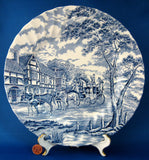 Myott Royal Mail Blue Transferware Dinner Plate 1940s Ironstone Coaching Scene