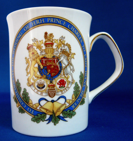 Charles Diana 1981 Mug Royal Wedding Coat Of Arms Elizabethan