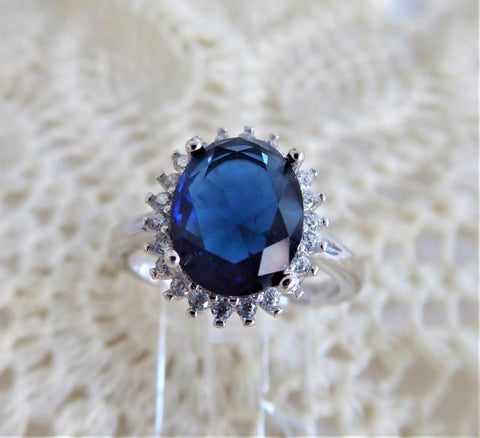Faux Sapphire Diamond Halo 925 Silver Ring Size 6 Diana Royal Engagement Ring 1980s Estate