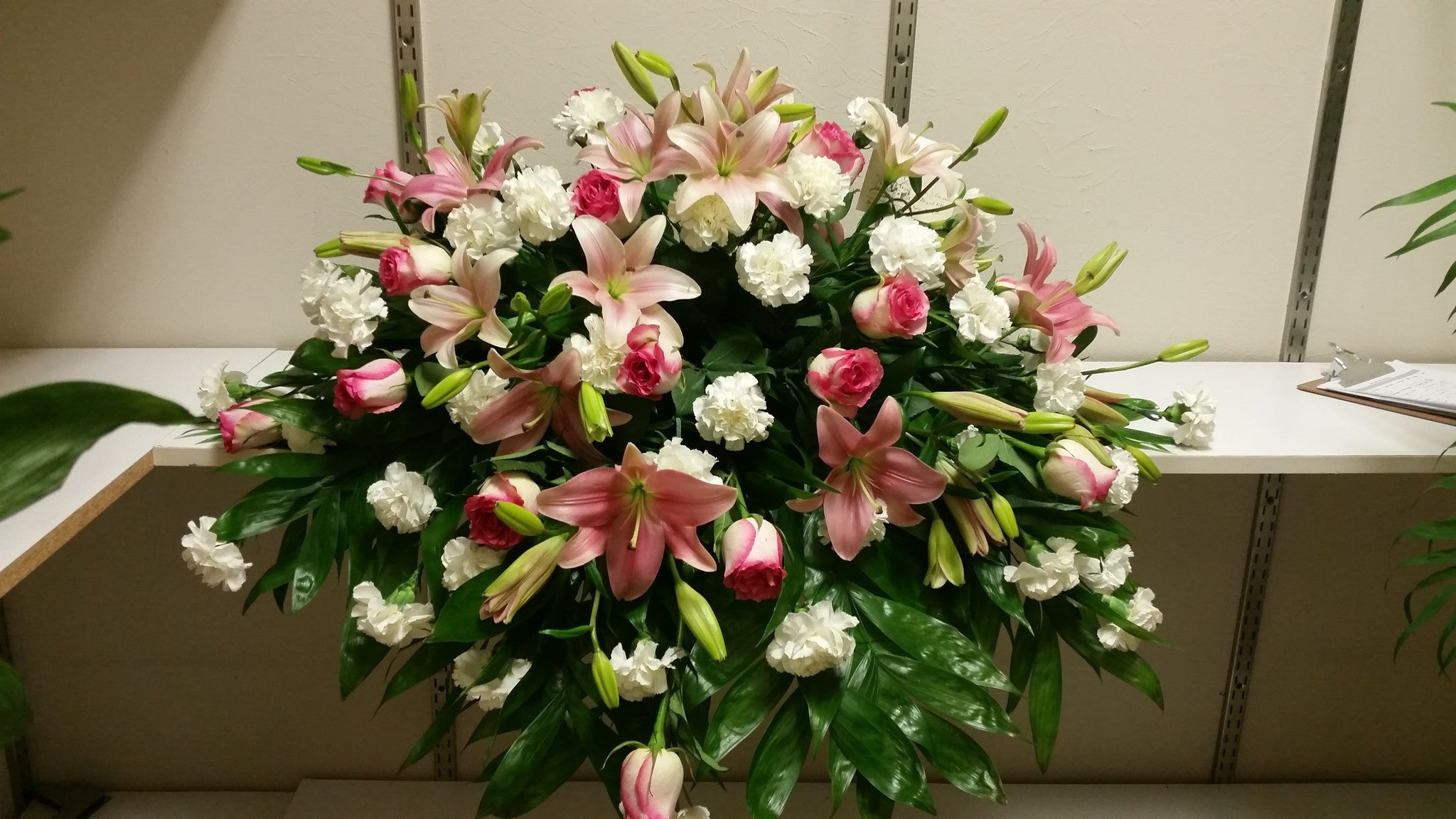 Pink And White Casket Spray Flora Funeral Flowers Are Happy