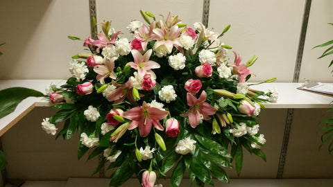 """Pink and White"" Casket Spray"