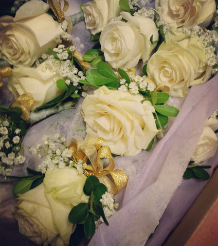 White Roses Boutonniere (six of them)