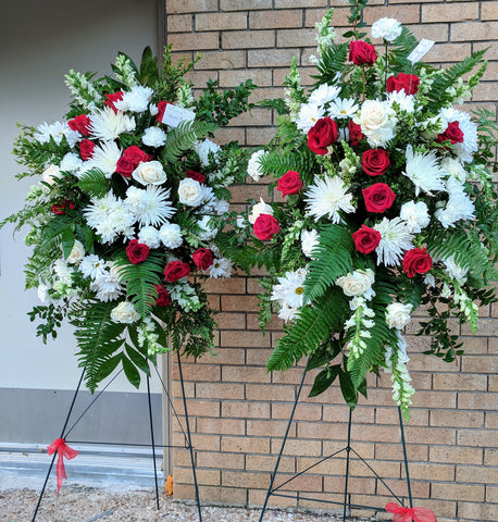 Whole Red and White( Two standing & One casket spray)