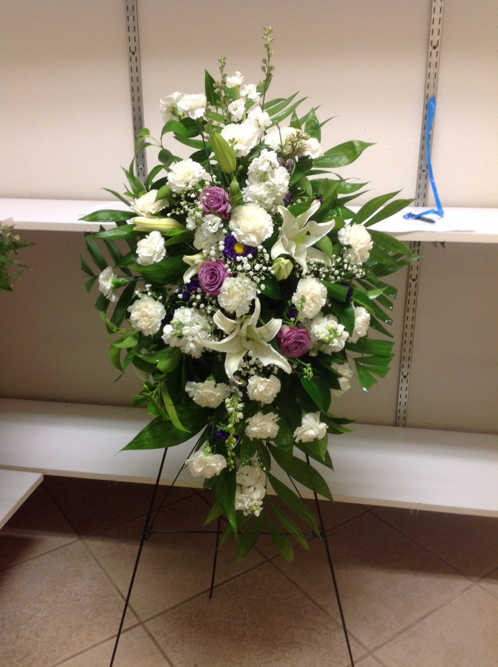 Standing sprays white and lavender flora funeral flowers are happy standing sprays white and lavender izmirmasajfo Images