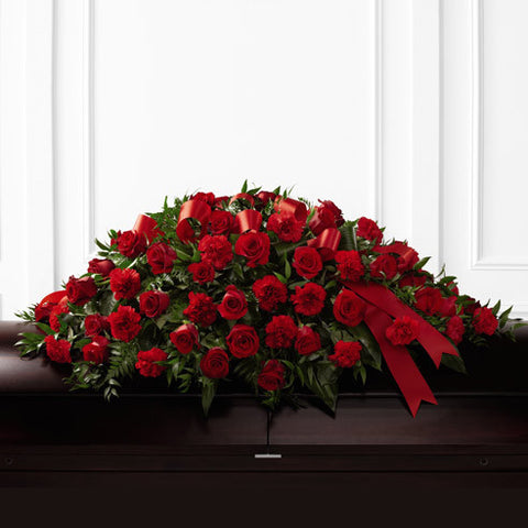 "Funeral Package: ""Roses of love"" (Two standing and One casket spray)"