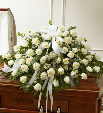 """All White Roses (half casket cover)"""