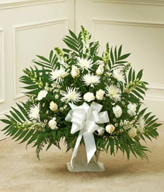 """Natural Light"" White Basket Arrangement"