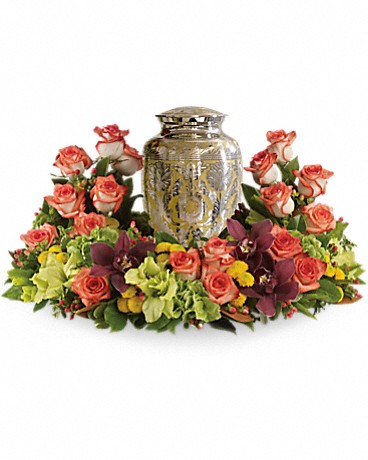 Urn Flowers (yellow and orange roses)