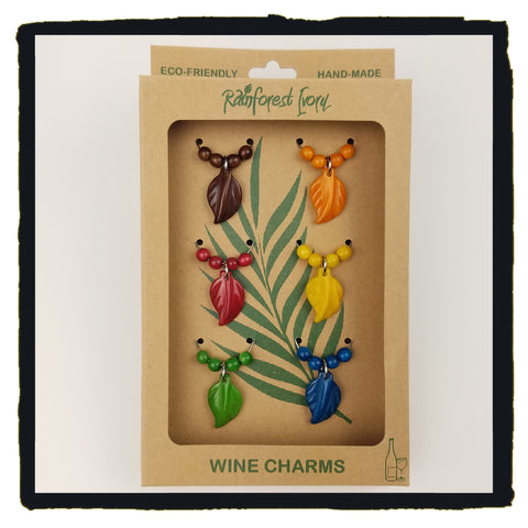 Leafy Wine Charms