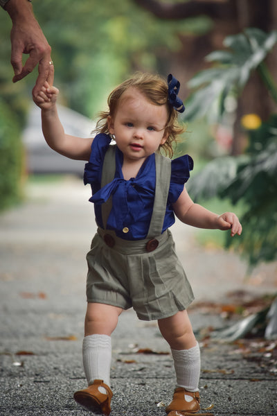 'Little Miss Navy' Blouse and Shorts Set
