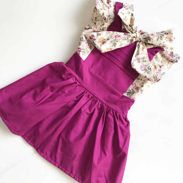 Pleated Pinny in Plum