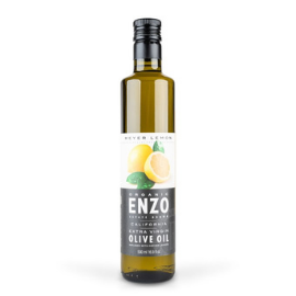 Skinny, tall, green bottle of ENZO lemon infused olive oil against a white background. The label has lemons against a white background and olive oil brand and other details against black background.