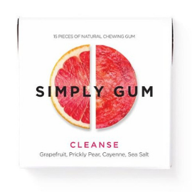 Small white box of Simply Gum with a slice of bright pink ruby grapefruit in the middle. Box reads: Simply Gum Cleanse