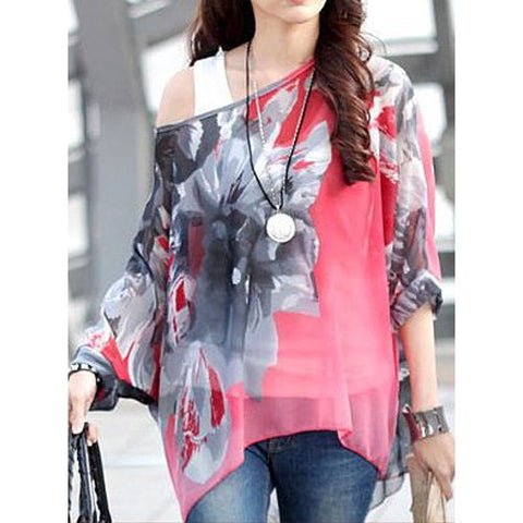Sweet Inclined Shoulder Floral Print Batwing Sleeve Women's Blouse - One Size