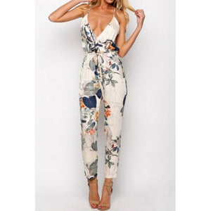 Stylish Spaghetti Strap Floral Print Backless Jumpsuit For Women