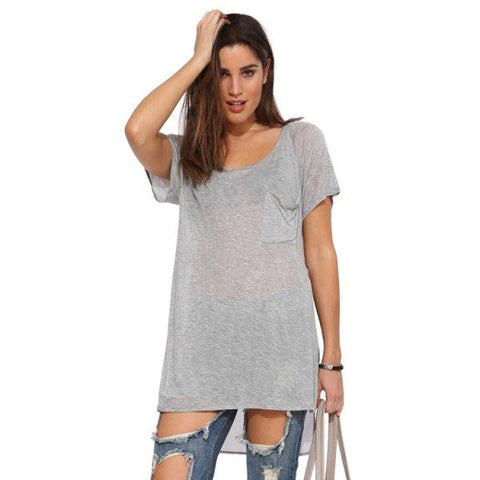 Fashionable Scoop Neck Pocket Side Slit Chiffon Splicing Short Sleeve T-Shirt For Women