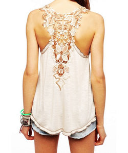 Sweet Scoop Neck Sleeveless Back Openwork Lace Backless Tank Top For Women - Apricot One Size(fit Size Xs To M)