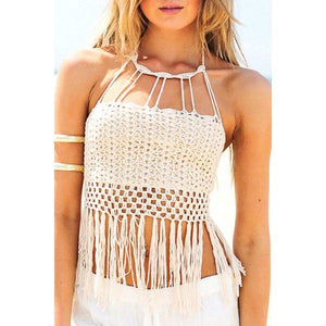 Alluring Halter Neck Open Back Tassels Spliced Knitted Women's White Crop Top - White One Size(fit Size Xs To M)