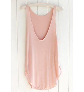 Scoop Neck Casual Tank Top - Pink One Size(fit Size Xs To M)