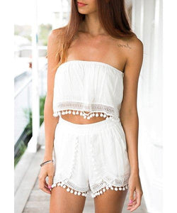 Sexy Strapless Sleeveless White Crop Top + Fringed Shorts Twinset For Women - White S, M