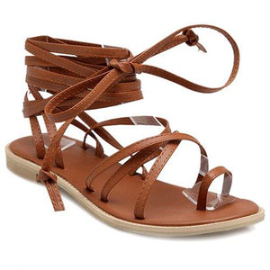 Flat Heel and Cross Straps Design Sandals For Women - Brown 5, 6