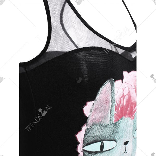 Sheer Mesh Floral Cat Print Tank Top