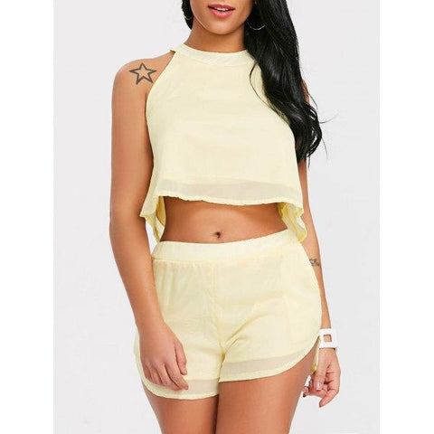 Chiffon Crop Top With High Waisted Shorts - Limeade L