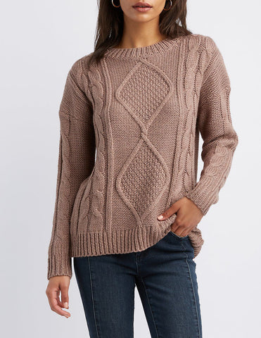 Diamond Knit Pullover Sweater