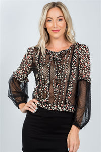 Ladies fashion polka dots ruffle sheer mesh top