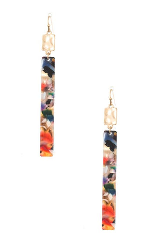 Drop resin bar earring
