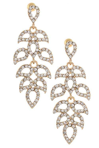 Rhinestone leaf vine link dangle earring