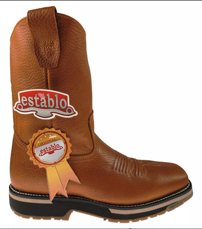 establo men's work boots soft toe double density sole oil & acid resistant Genuine Leather 608 Miel Grizzly