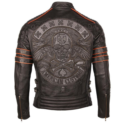 Black Embroidery Skull Motorcycle Leather
