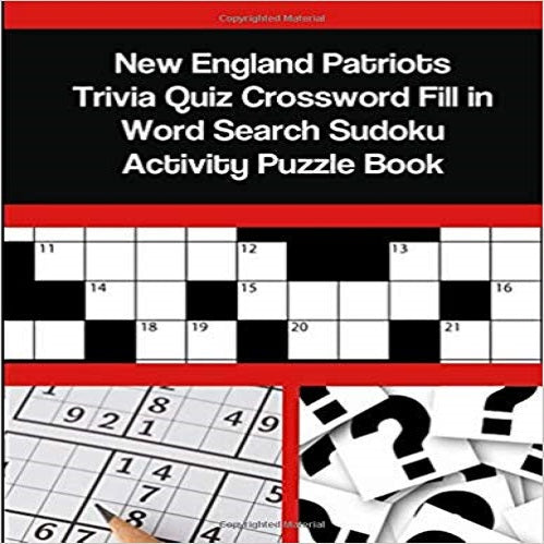 New England Patriots Trivia Quiz Crossword Fill  Word Search Sudoku Activity Puzzle Book
