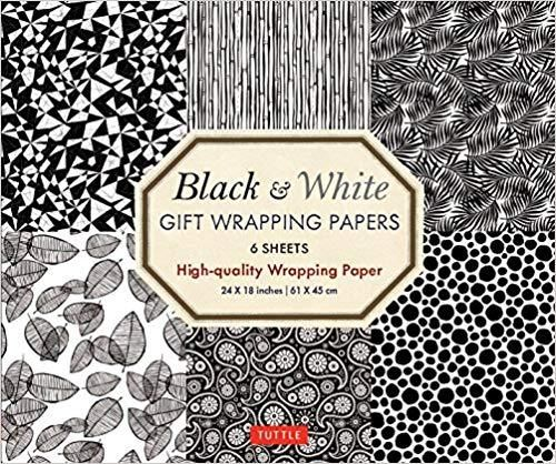 Black & White Gift Wrapping Papers:6 Sheets of High-quality 24 X 18 Inch Wrapping Paper