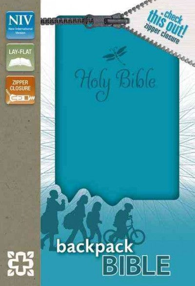 Holy Bible: New International Version Teal Italian Duo-Tone Zipper Closure Backpack Bible